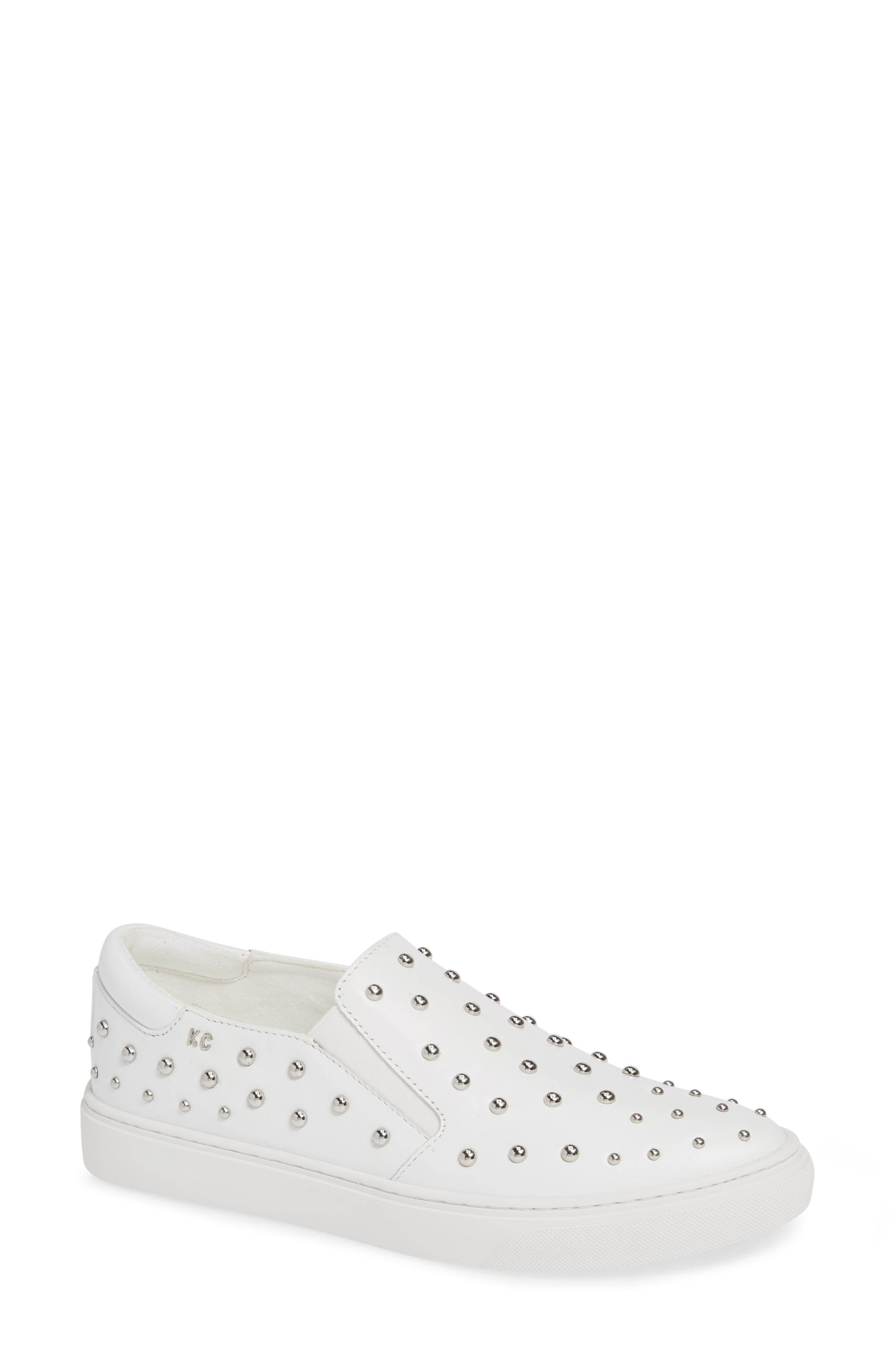 Mara Stud Slip-On Sneaker, Main, color, WHITE LEATHER