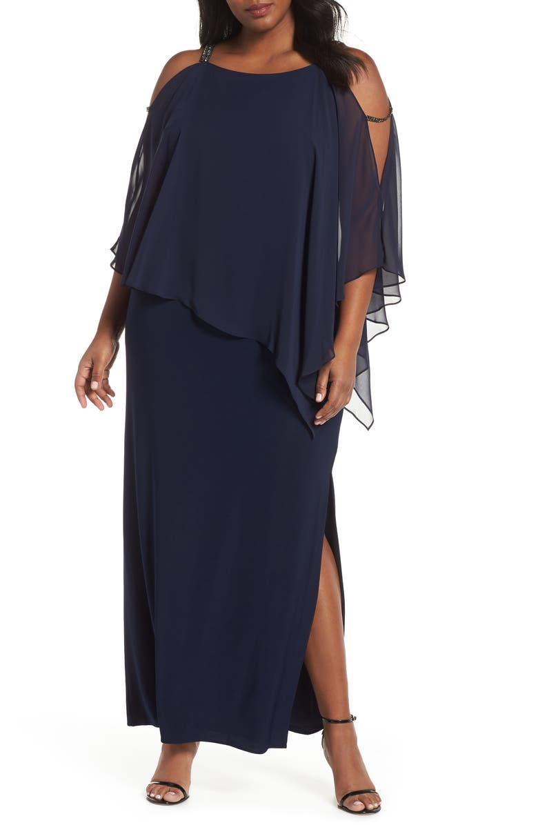 XSCAPE Chiffon Overlay Split Sleeve Gown, Main, color, NAVY