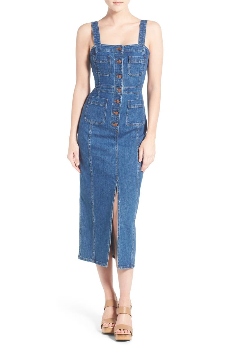 MADEWELL 'Dungaree' Denim Midi Dress, Main, color, NOAH WASH
