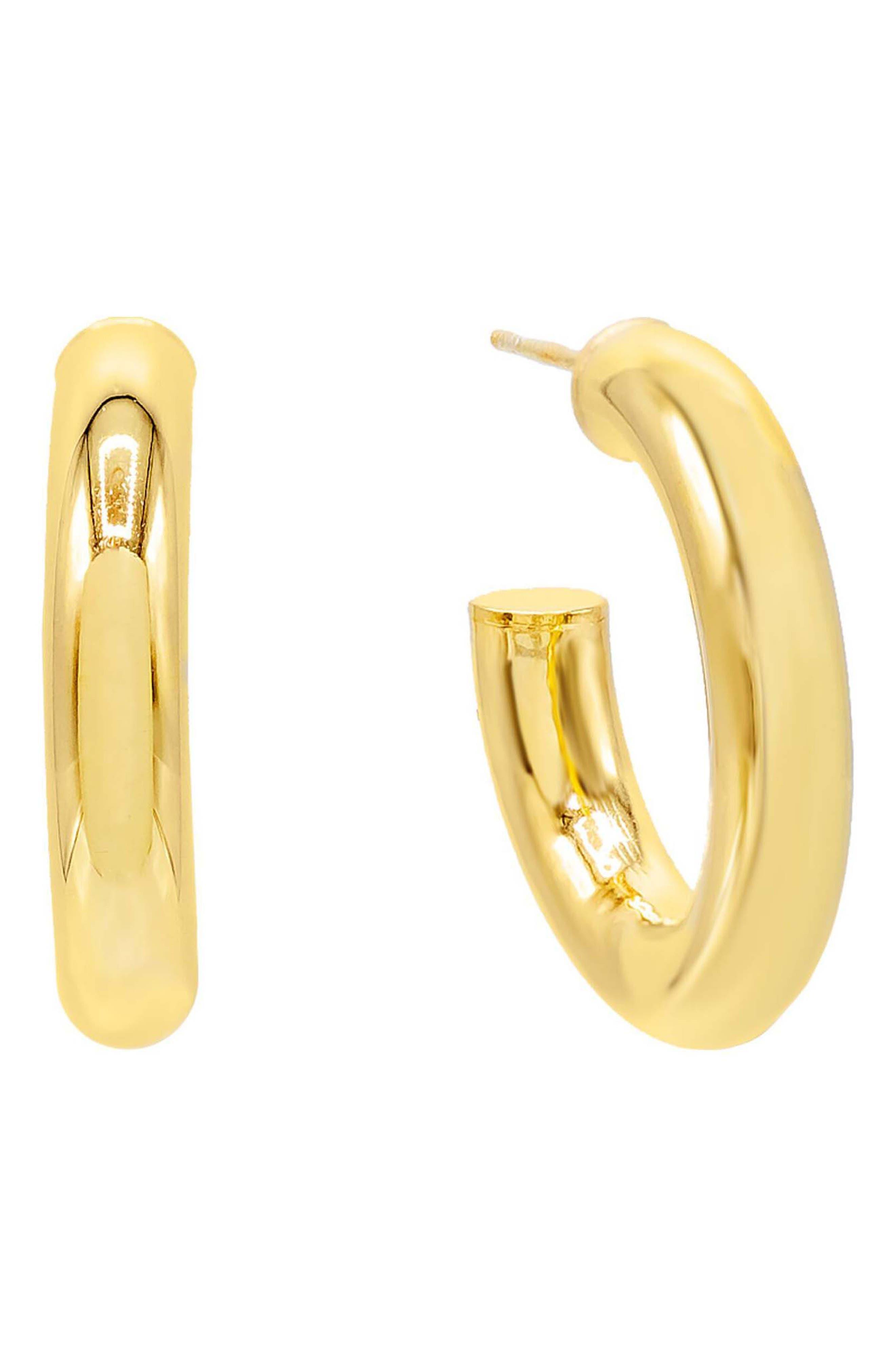 Women's Adina's Jewels Thick Hollow Hoop Earrings