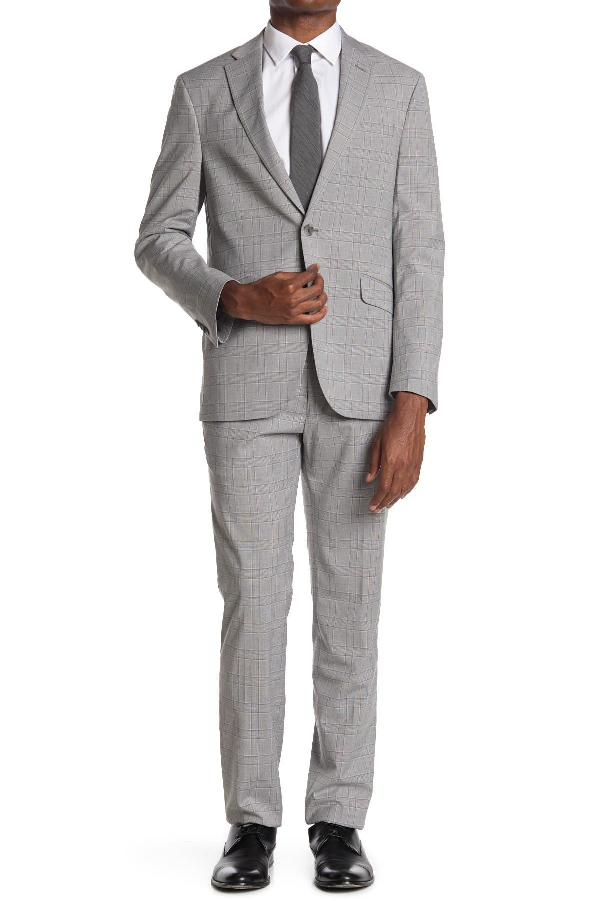 Image of Kenneth Cole Reaction Windowpane Two Button Notch Lapel Slim Fit Suit