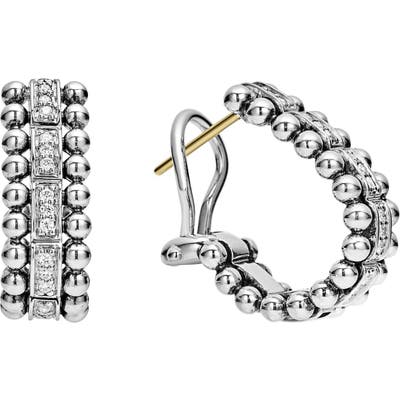 Lagos Caviar Spark Diamond Oval Hoop Earrings