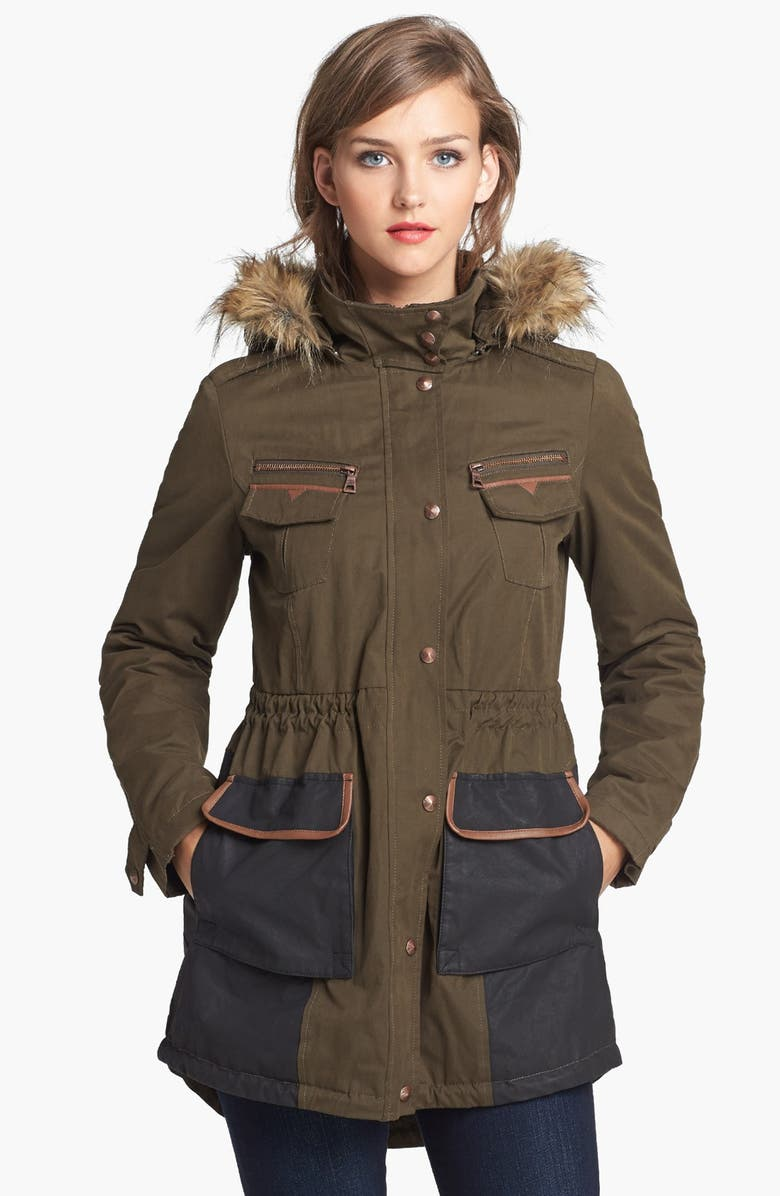 SAM EDELMAN 'Louie' Faux Fur Trim Anorak, Main, color, 300