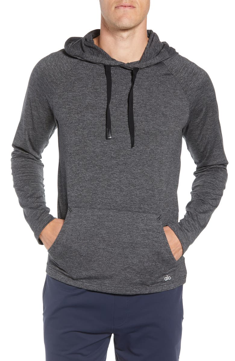 ALO Conquer Hoodie, Main, color, GRAPHITE MARL