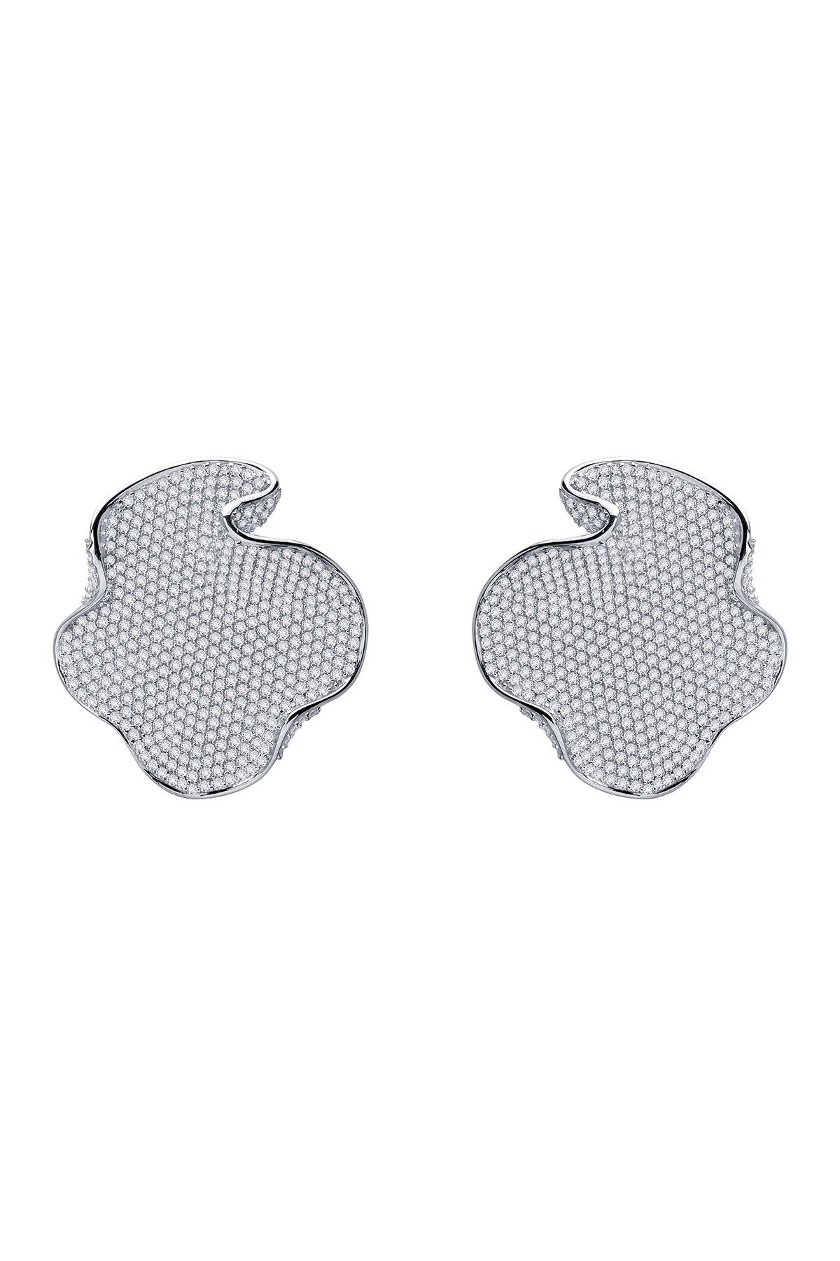 Image of LaFonn Platinum Bonded Sterling Silver Pave Disc Drop Earrings