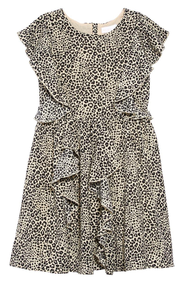 BCBG GIRLS BCBG Print Crepe Ruffle Dress, Main, color, BLACK