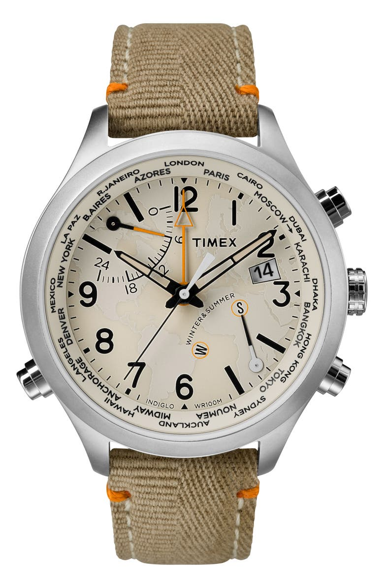 TIMEX<SUP>®</SUP> Waterbury Canvas Strap Watch, 43mm, Main, color, 208