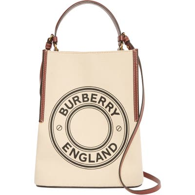 Burberry Small Peggy Logo Graphic Cotton Canvas Bucket Bag - Beige