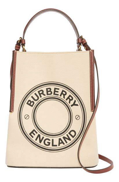 BURBERRY SMALL PEGGY LOGO GRAPHIC COTTON CANVAS BUCKET BAG