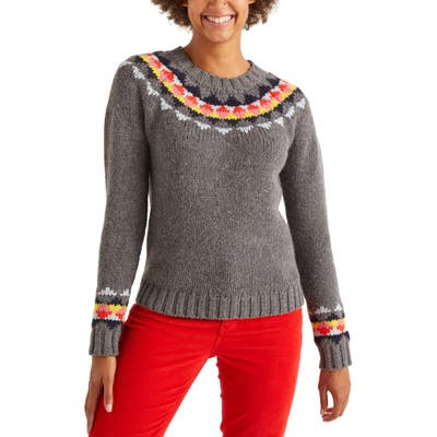 Boden Cordelia Fair Isle Wool & Alpaca Blend Sweater, Grey