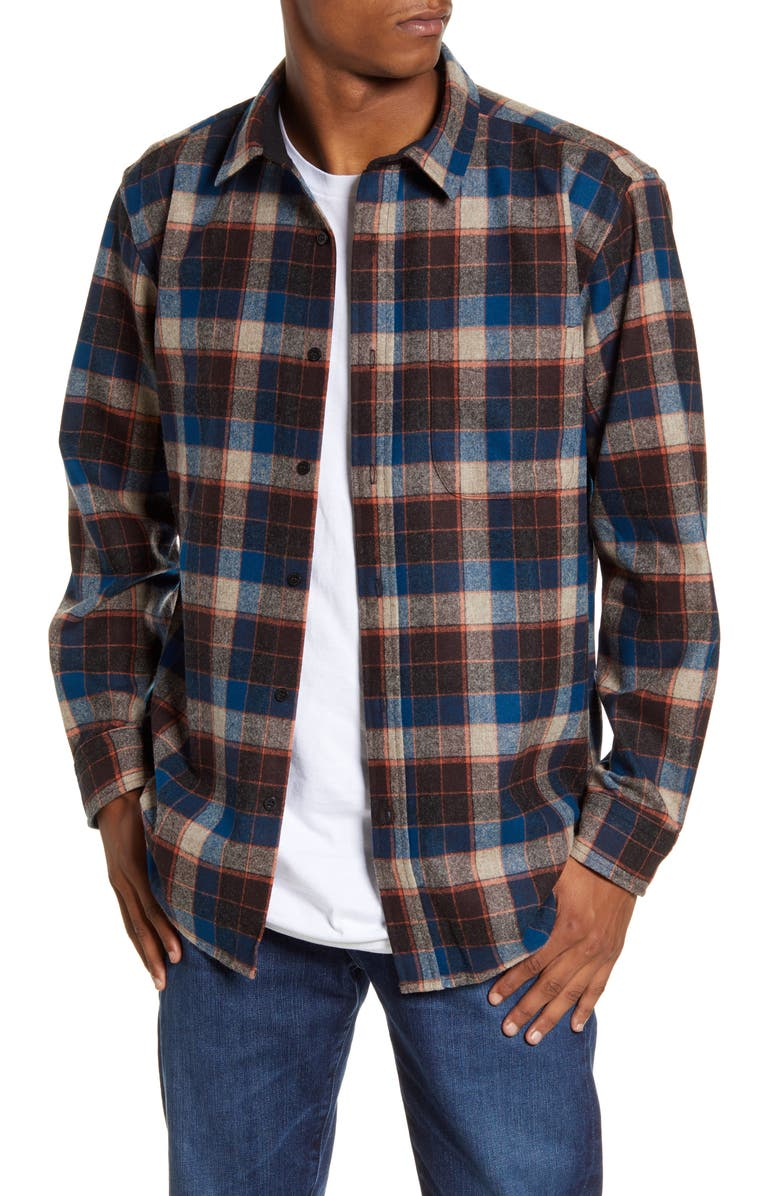 PENDLETON Lodge Regular Fit Plaid Wool Button-Up Shirt, Main, color, 200