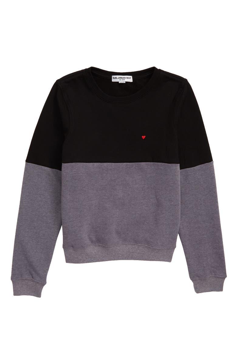 SUB_URBAN RIOT Amanda Heart Embroidered Sweatshirt, Main, color, BLACK/ HEATHER