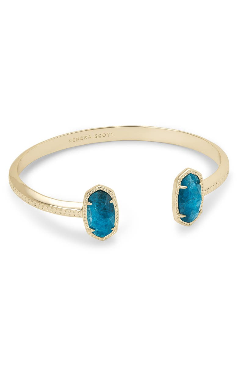 KENDRA SCOTT 'Elton' Station Cuff Bracelet, Main, color, GOLD/ AQUA APATITE