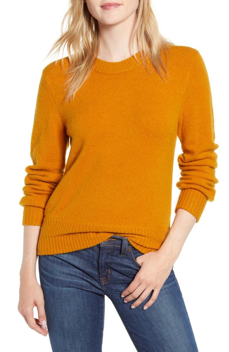 J.CREW Crewneck Sweater in Super Soft Yarn, Main, color, HEATHER WARM CARAMEL