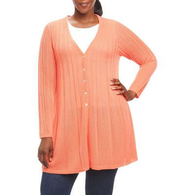 Plus Size Foxcroft Annette Maxi Cardigan, Orange