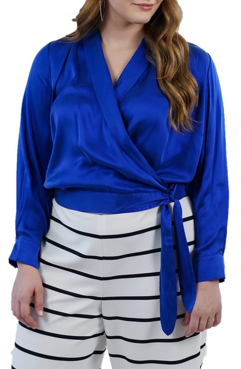 MARÉE POUR TOI Royal Faux Wrap Silk Blouse, Main, color, ROYAL BLUE