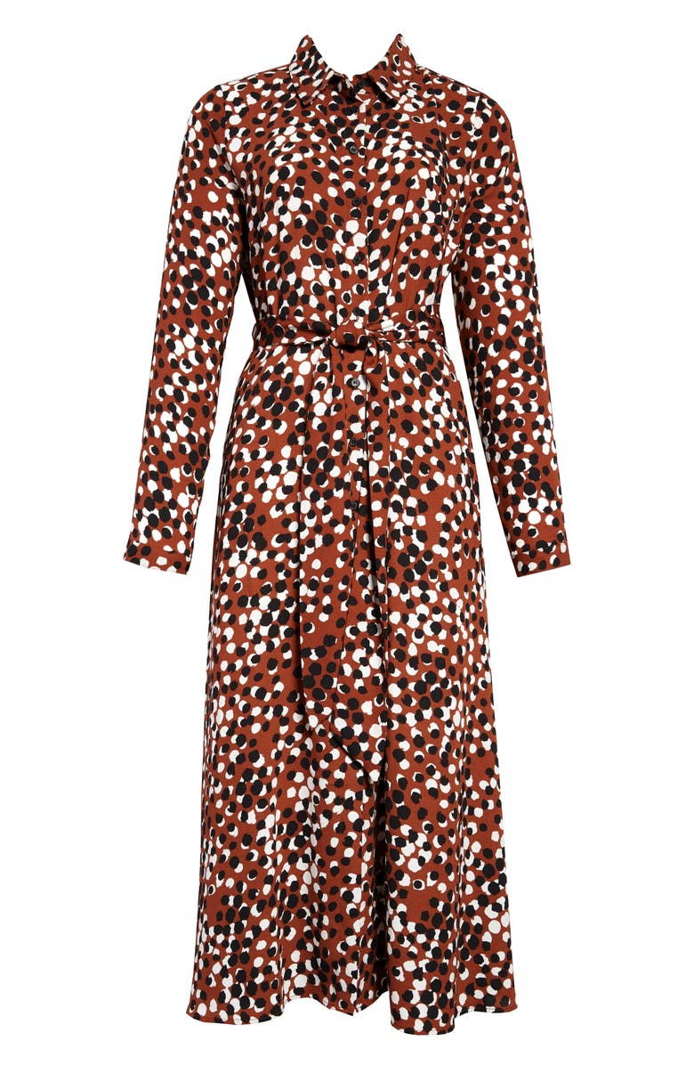HALOGEN<SUP>®</SUP> Long Sleeve Midi Shirtdress, Main, color, RUST- BLACK DOT