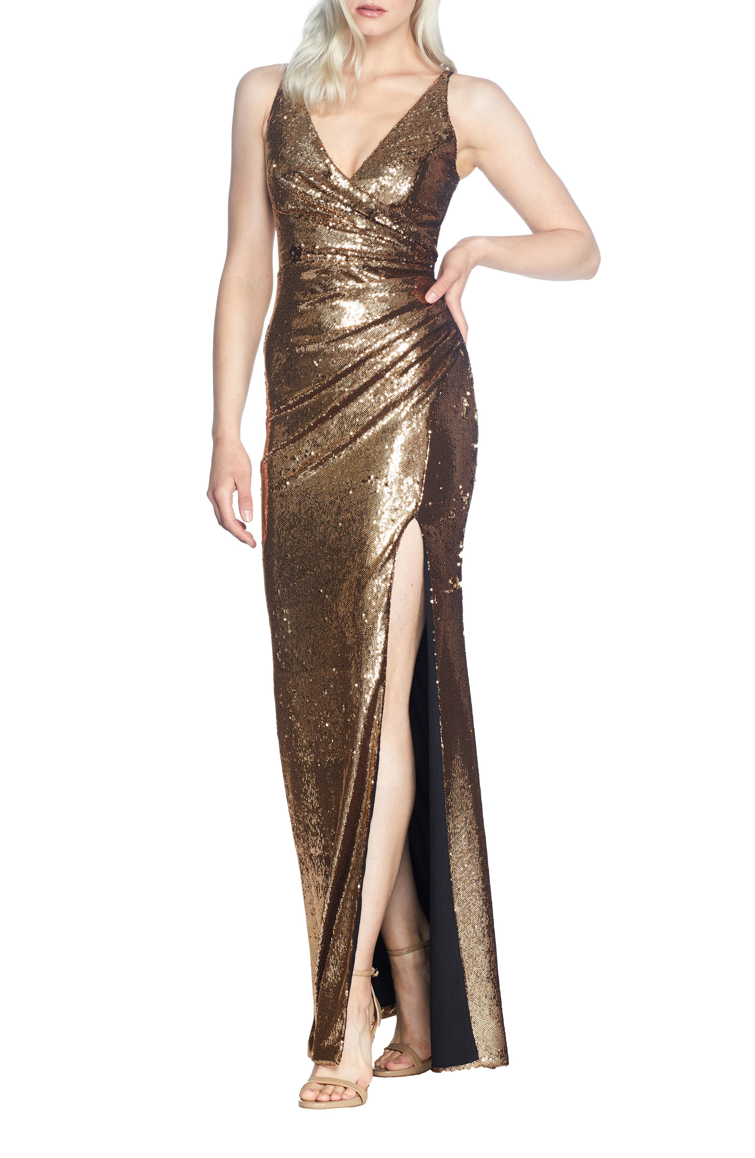 70s Prom, Formal, Evening, Party Dresses Womens Dress The Population Jordan Ruched Mermaid Gown $208.80 AT vintagedancer.com
