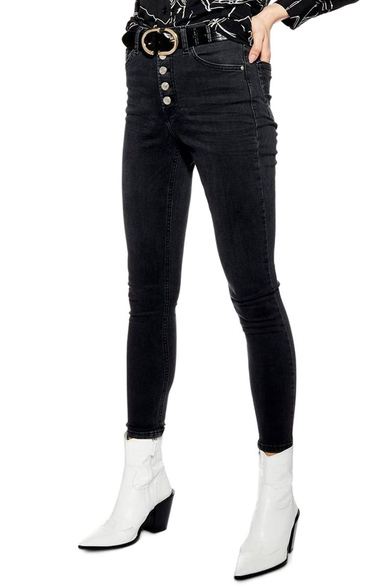 TOPSHOP Jamie High Waist Moto Skinny Jeans, Main, color, WASHED BLACK