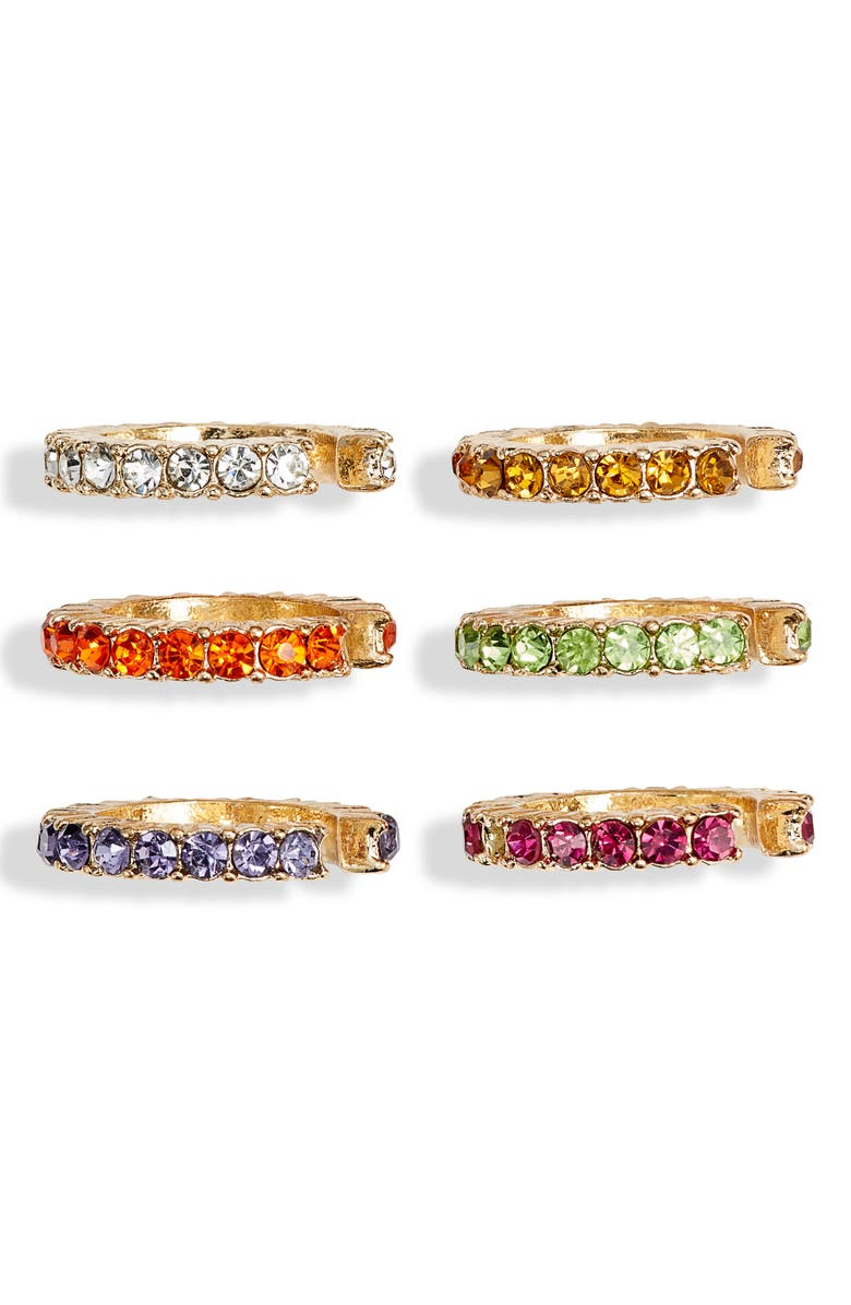8 OTHER REASONS Set of 6 Mini Pavé Ear Cuffs, Main, color, 710