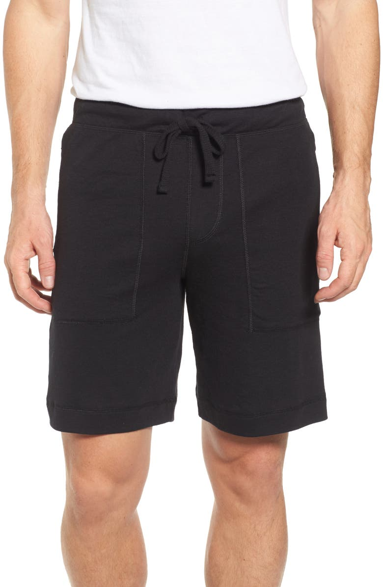 ALO Revival Relaxed Knit Shorts, Main, color, BLACK TRIBLEND