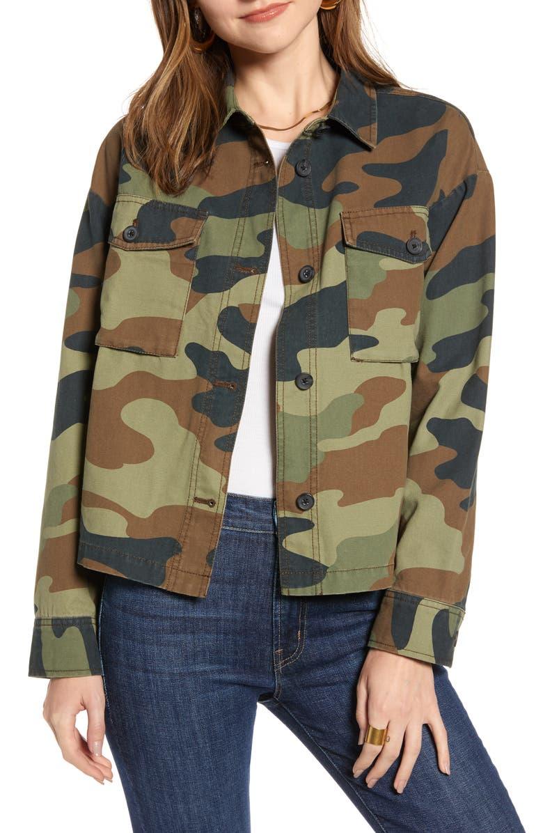 TREASURE & BOND Camo Military Jacket, Main, color, BROWN CHESTNUT- OLIVE CAMO
