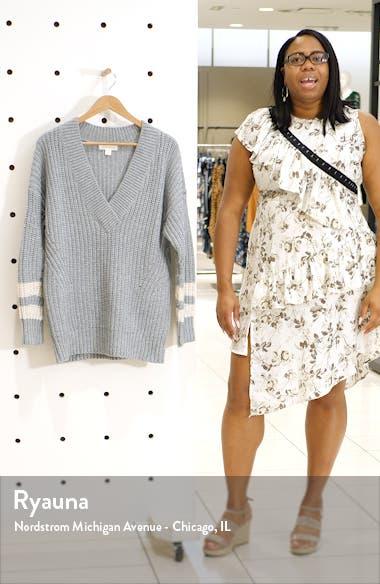 Stripe Sleeve Oversize V-Neck Sweater, sales video thumbnail