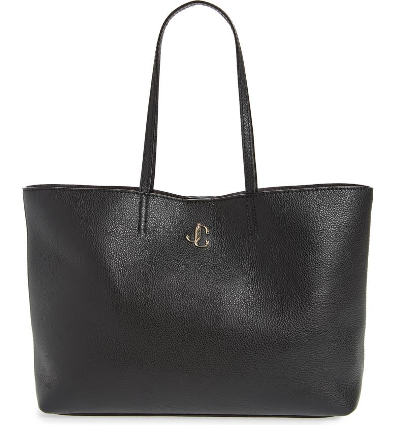 JIMMY CHOO Nine2Five East/West Leather Tote, Main, color, 001