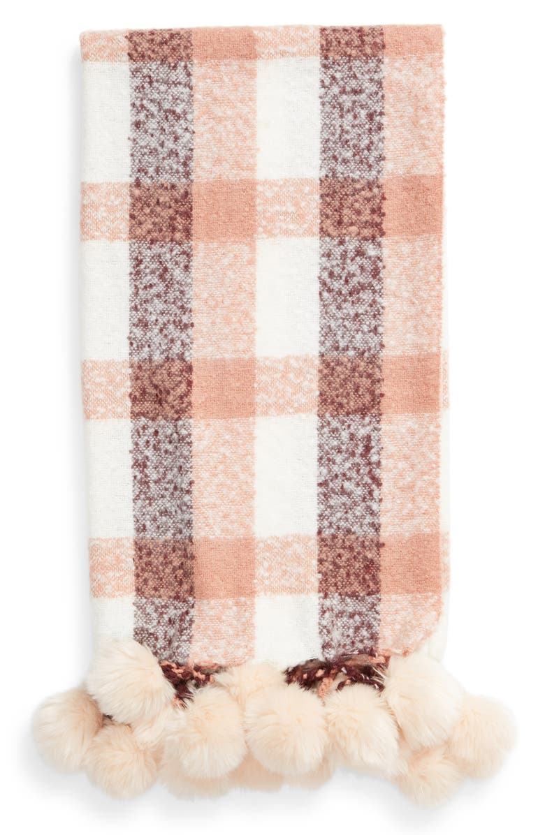 NORDSTROM AT HOME Faux Fur Throw, Main, color, PINK DAWN MULTI