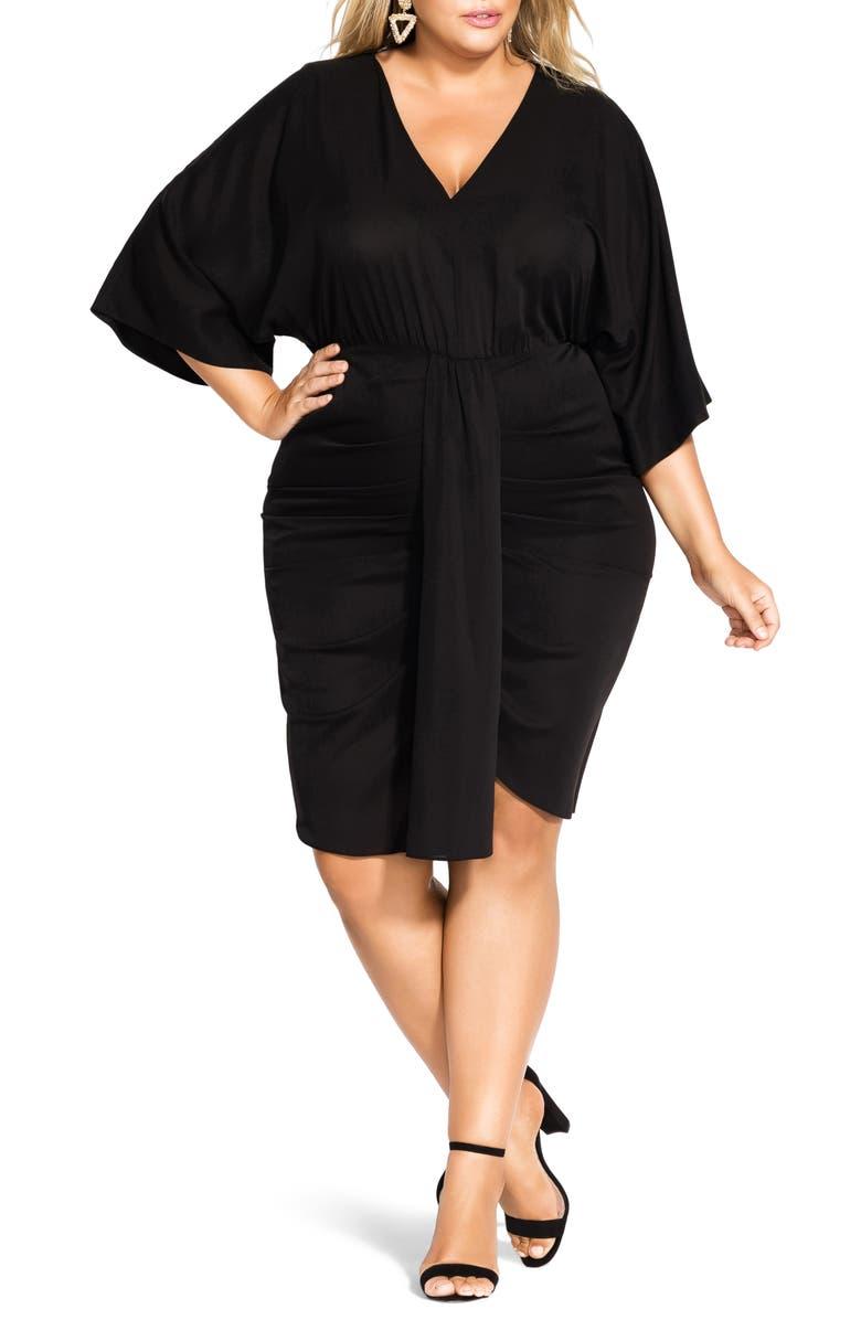 CITY CHIC Flirtatious Shift Dress, Main, color, BLACK