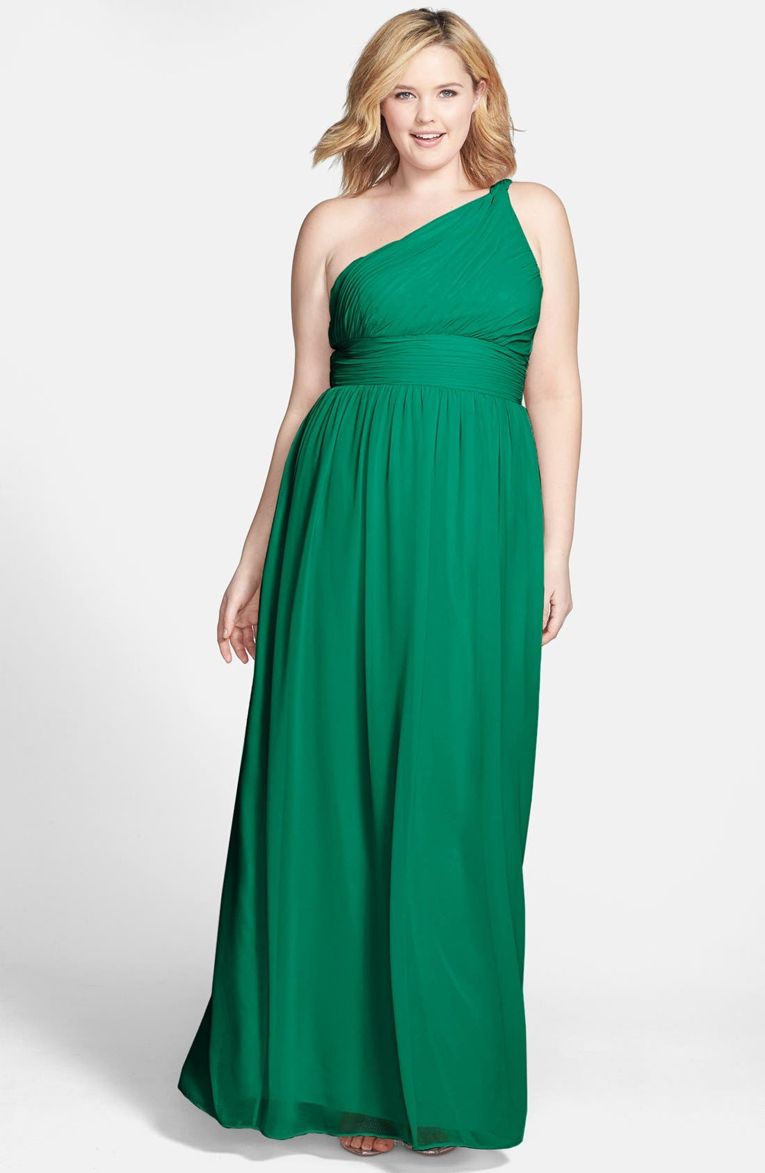 ,                             'Rachel' Ruched One-Shoulder Chiffon Gown,                             Main thumbnail 41, color,                             314