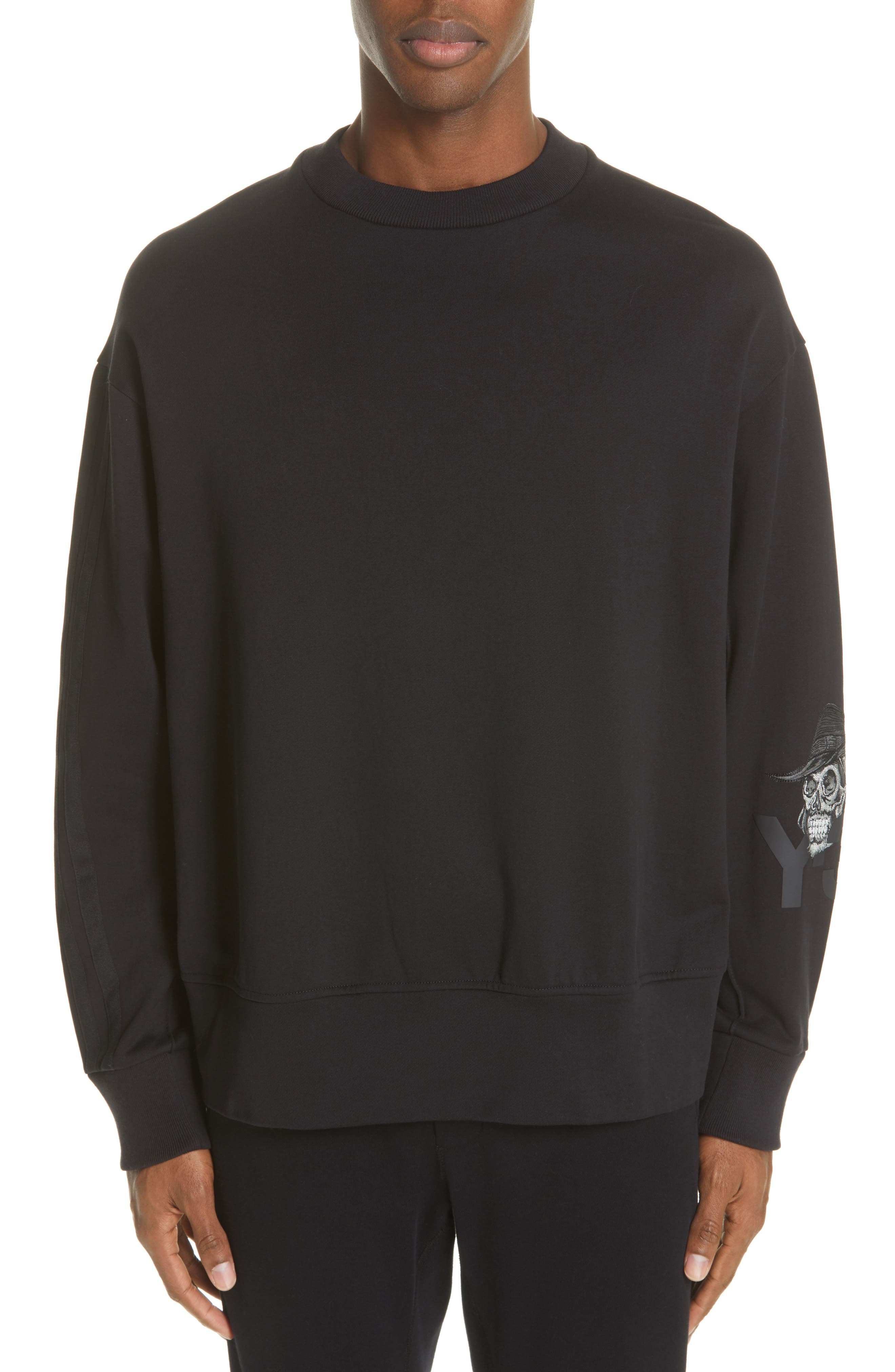 ,                             x adidas Skull Crewneck Sweatshirt,                             Main thumbnail 1, color,                             BLACK