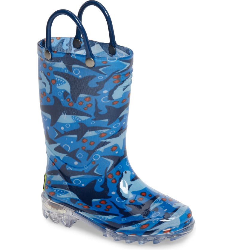 WESTERN CHIEF Shark Chase Light-Up Rain Boot, Main, color, BLUE