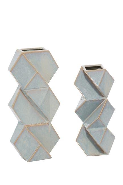 "Image of Willow Row Blue Ceramic Contemporary Vase - 16"" x 7"" x 4"""