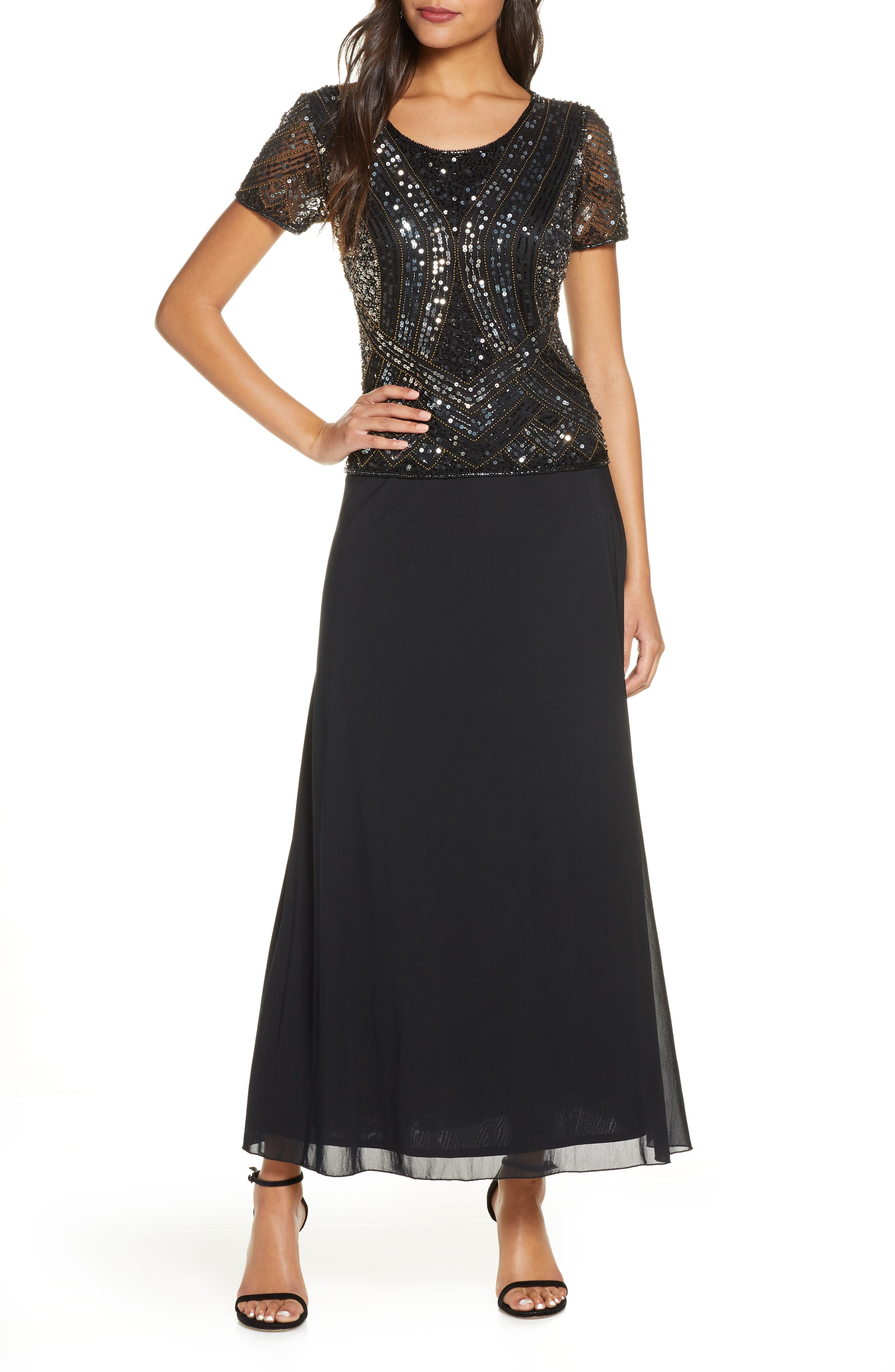 Art Deco Dresses | Art Deco Fashion, Clothing Womens Pisarro Nights Mock Two-Piece Embellished Bodice Gown $218.00 AT vintagedancer.com