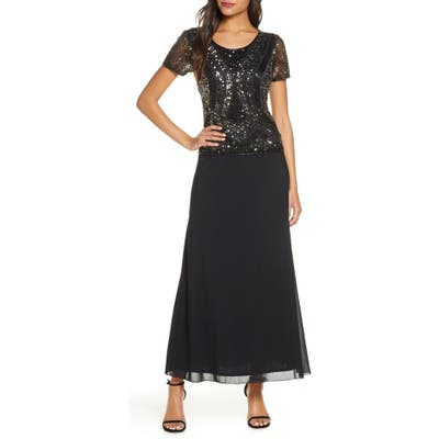 Pisarro Nights Mock Two-Piece Embellished Bodice Gown, Black