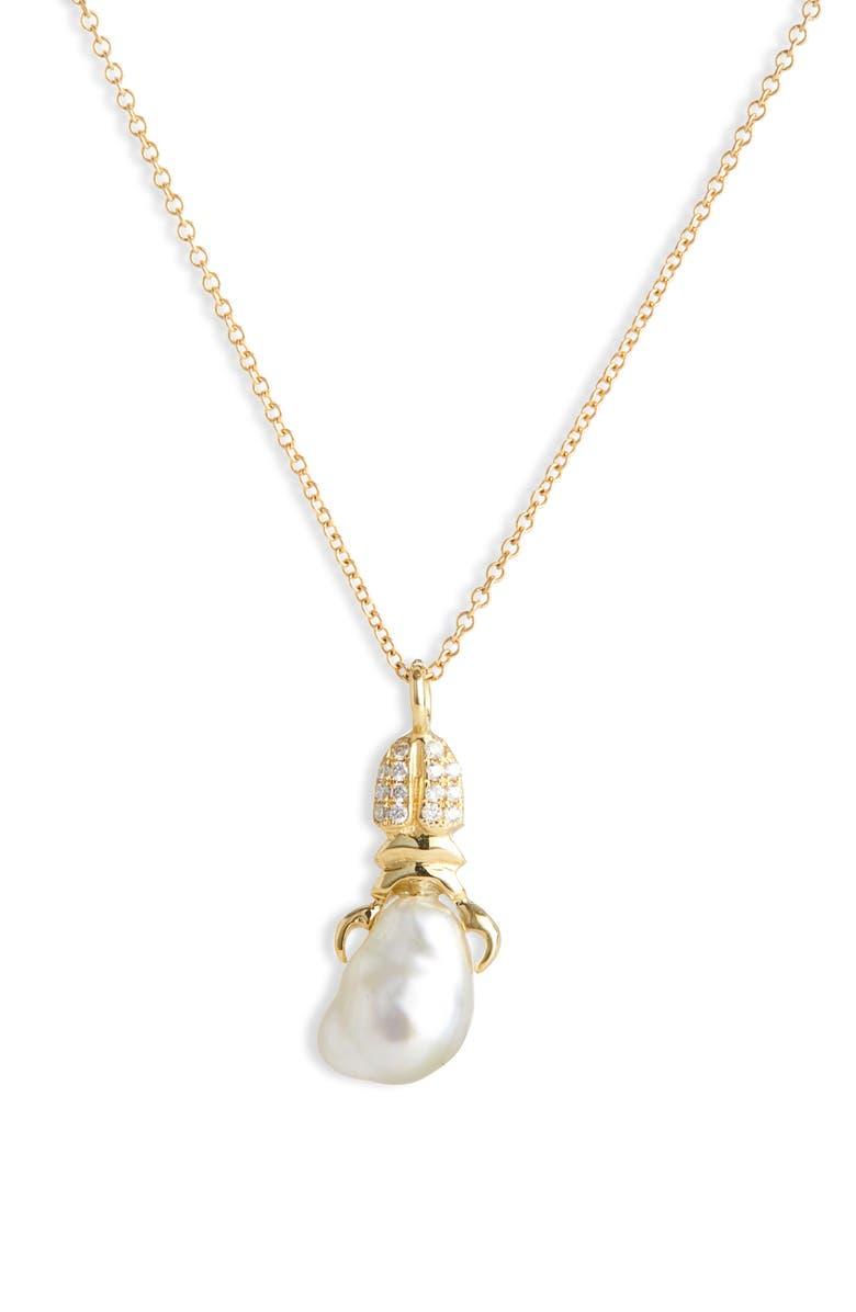 DANIELA VILLEGAS Khepri Baroque South Sea Pearl & Diamond Necklace, Main, color, 710