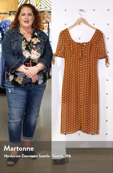 Polka Dot Front Button Midi Dress, sales video thumbnail