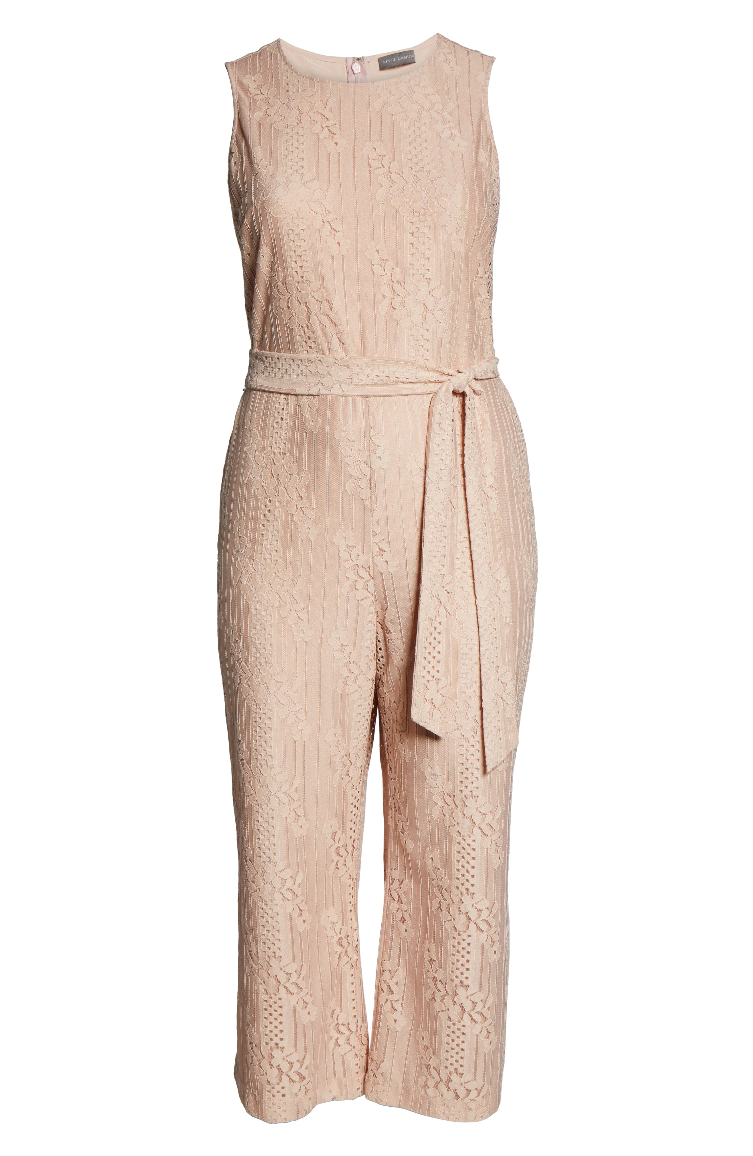 ,                             Lace Belted Jumpsuit,                             Alternate thumbnail 7, color,                             PEACH BELLINI