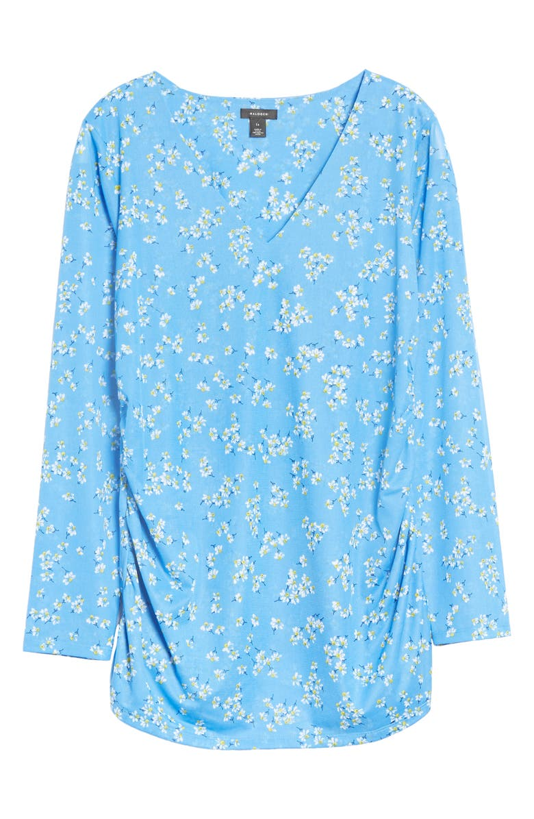 HALOGEN<SUP>®</SUP> Gathered Mesh Top, Main, color, BLUE CAMP FLORAL