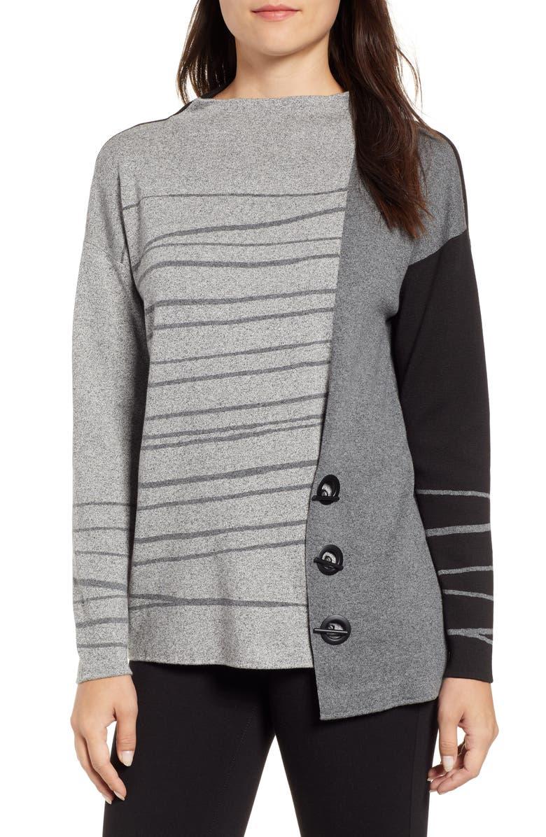 NIC+ZOE Toggled Stripe Sweater, Main, color, 020