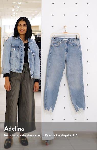High Waist Jagged Hem Straight Leg Jeans, sales video thumbnail