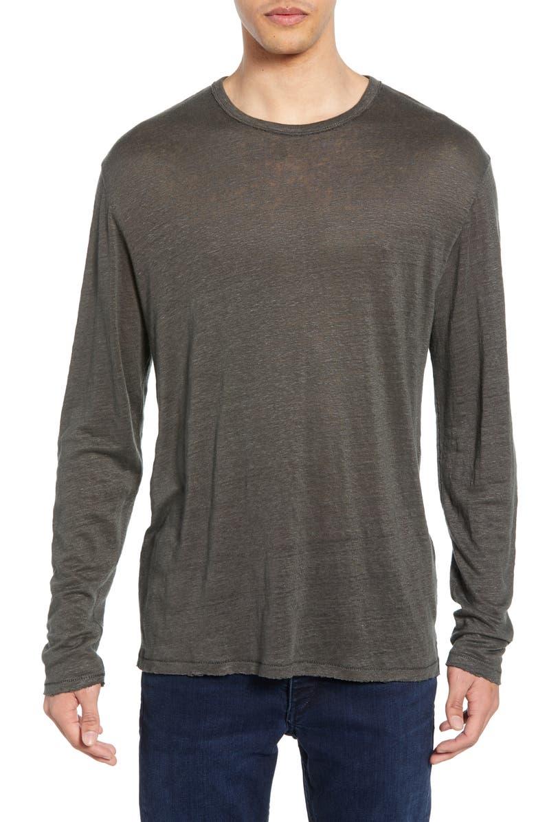 RAG & BONE Owen Slim Fit Long Sleeve Linen T-Shirt, Main, color, 021