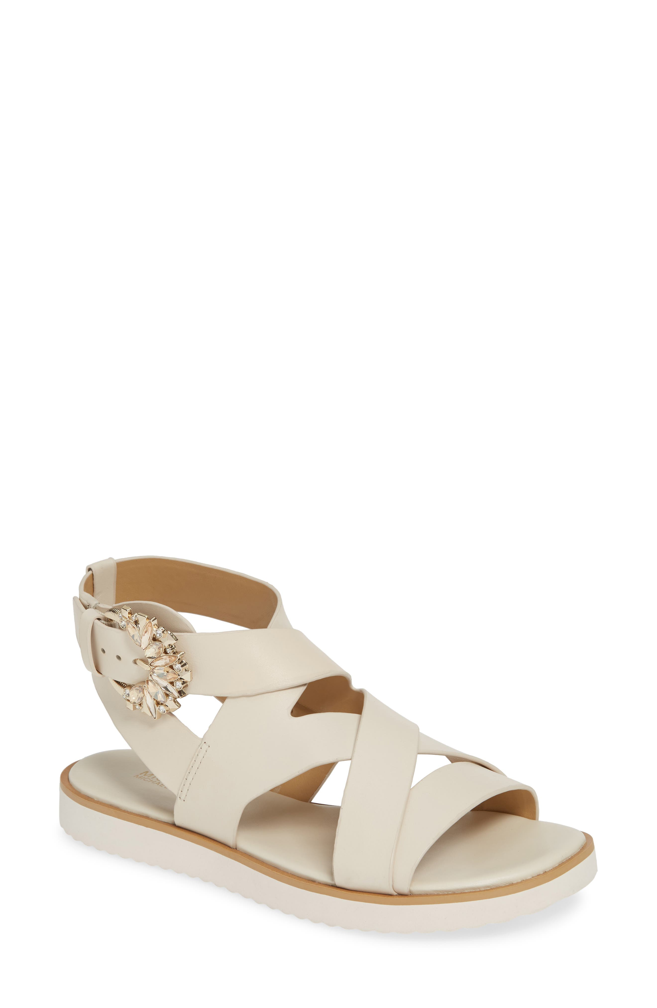 Michael Michael Kors Frieda Strappy Flat Sandal, Ivory