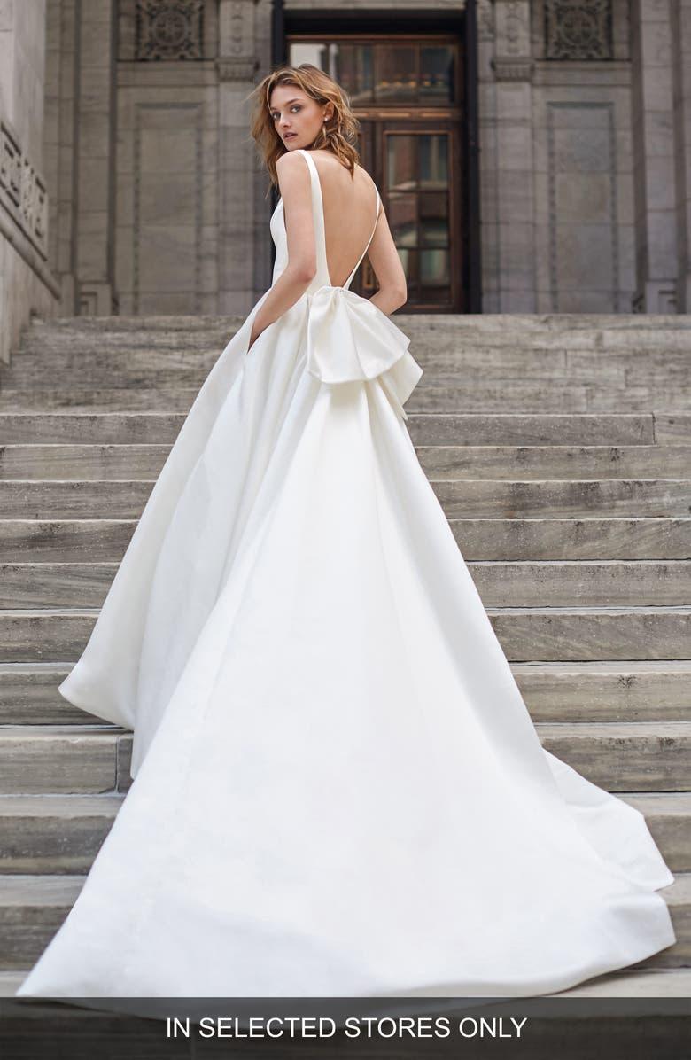BLISS MONIQUE LHUILLIER Bow Back Satin Wedding Dress, Main, color, 100