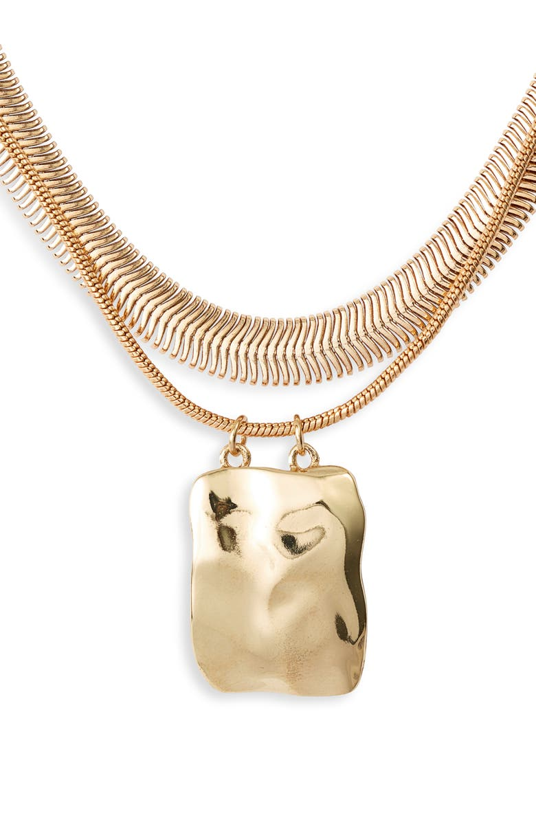 HALOGEN<SUP>®</SUP> Molten Pendant Layered Necklace, Main, color, GOLD