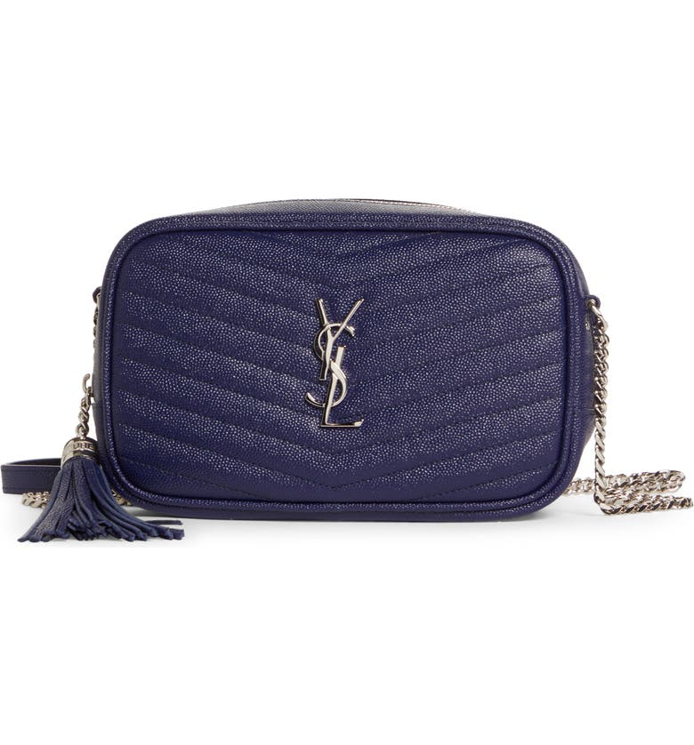SAINT LAURENT Lou Mini Matelassé Leather Camera Bag, Main, color, AZURE BLUE