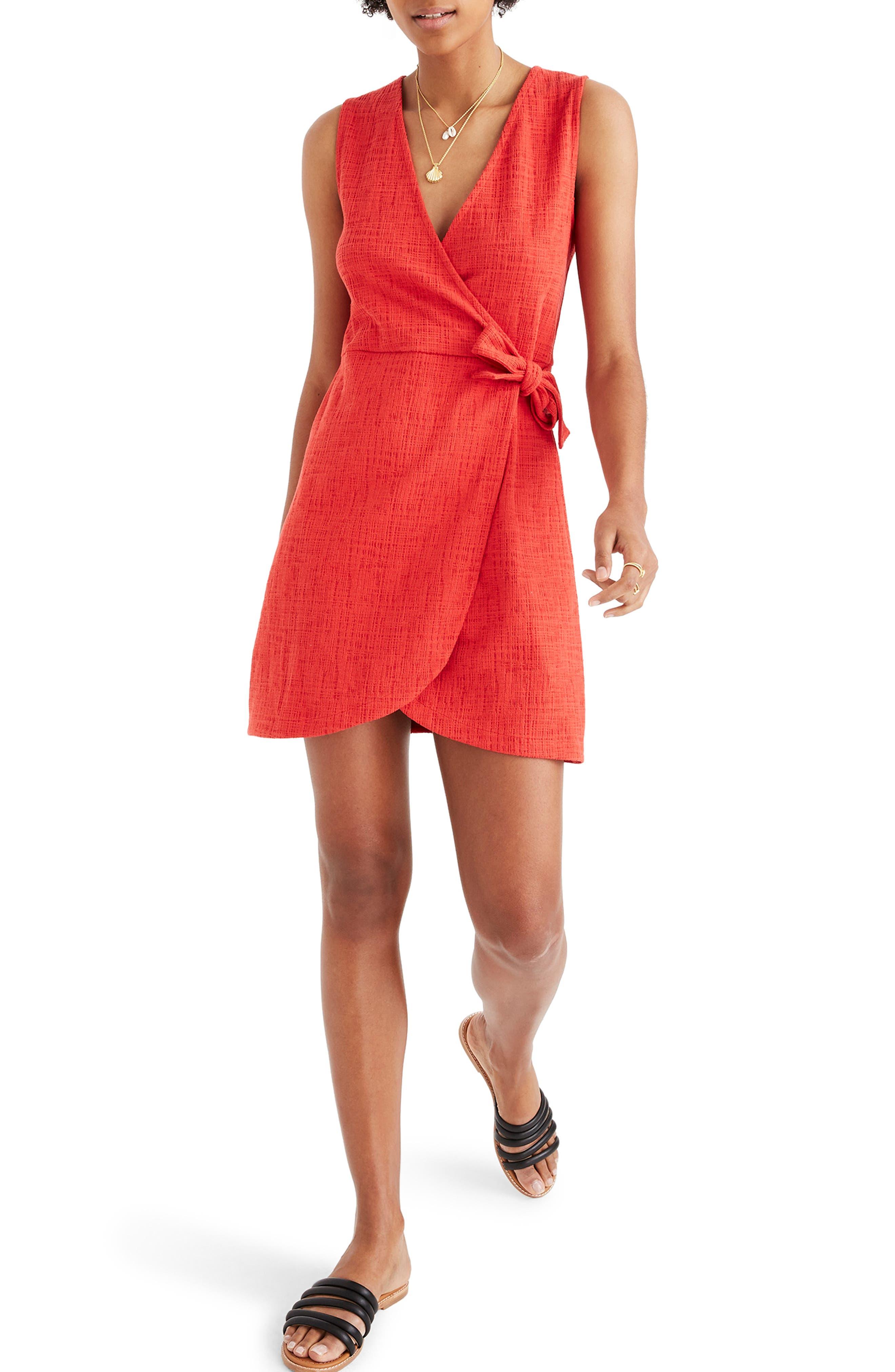 Madewell Texture & Thread Side Tie Minidress, Red