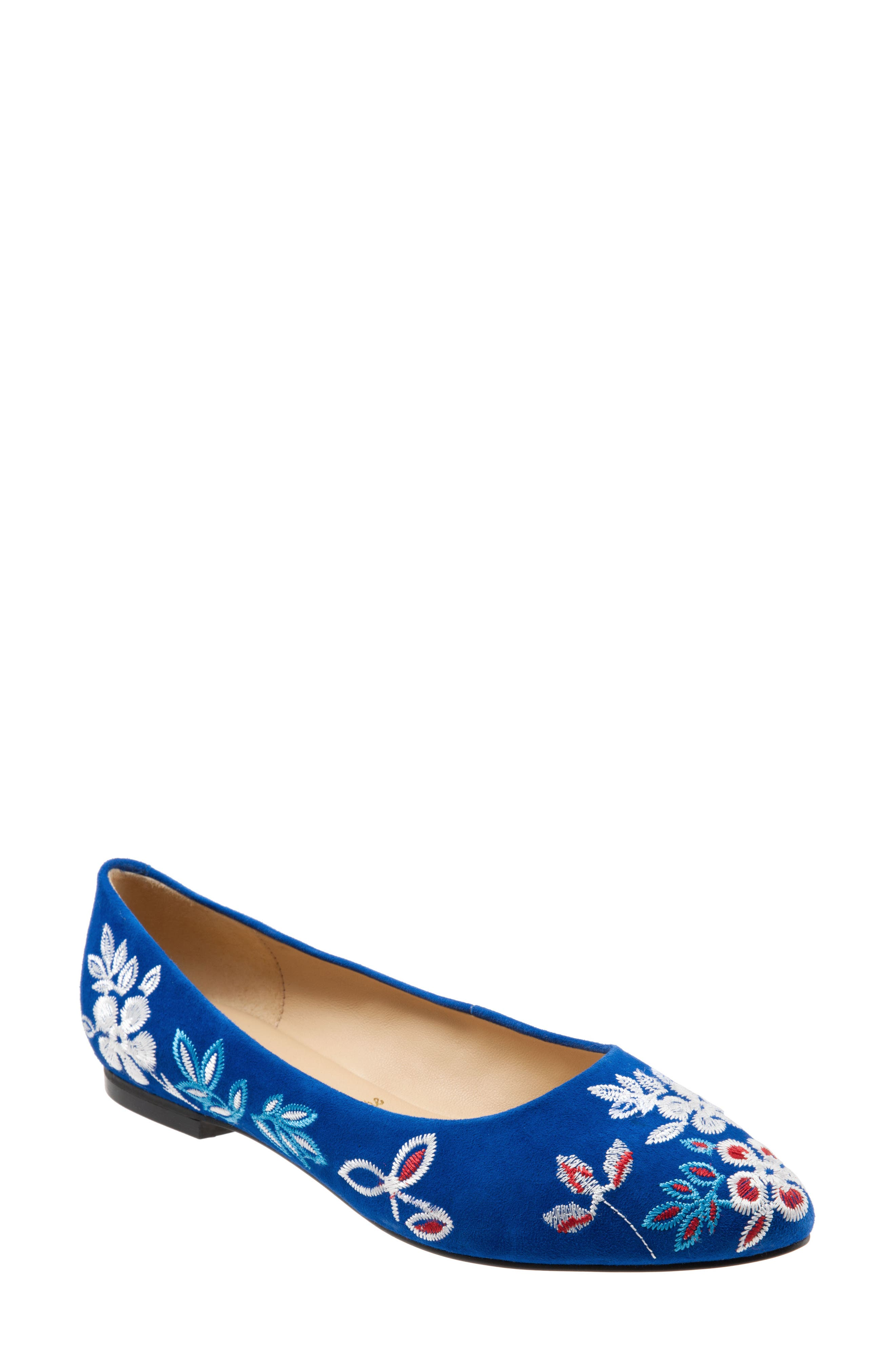 Trotters Estee Pointed Toe Flat- Blue