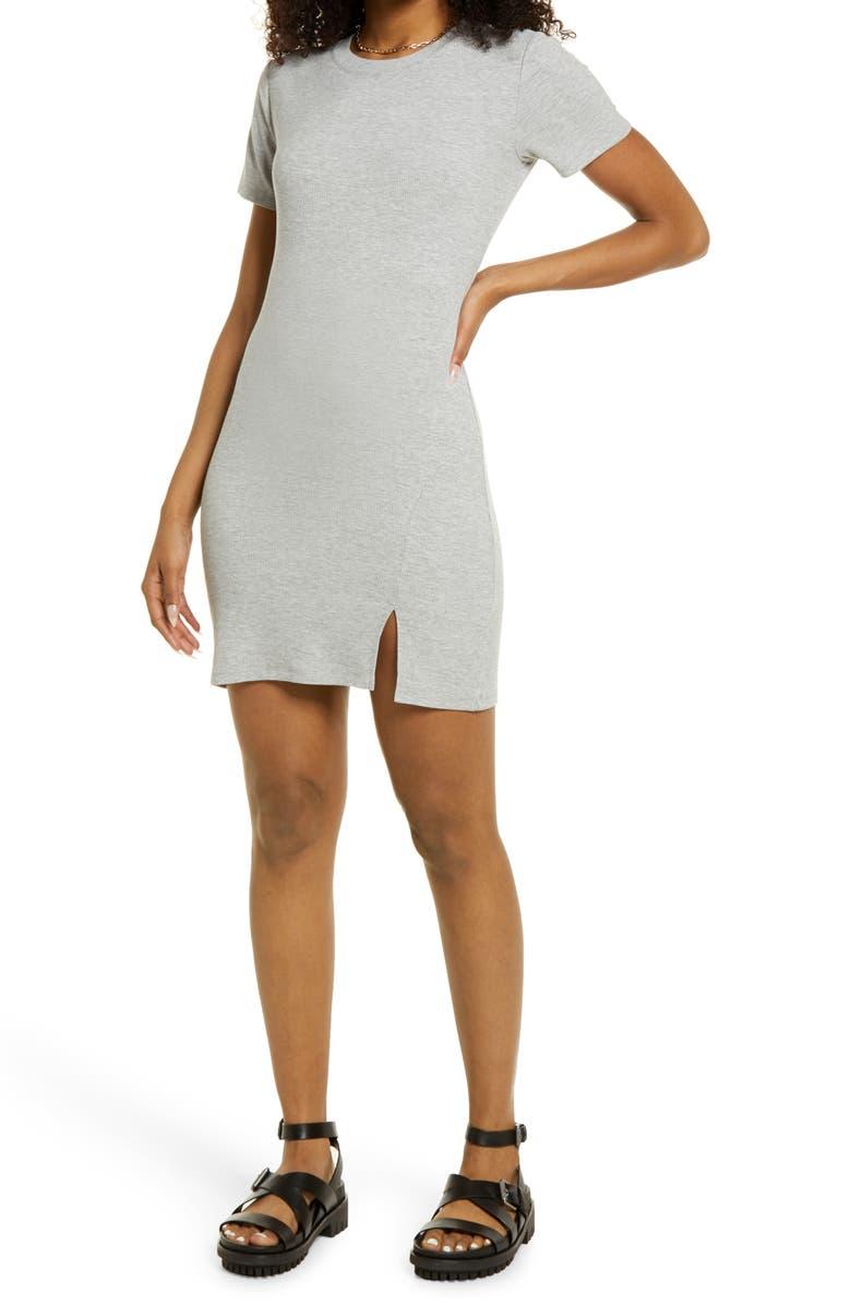 BP. Front Slit Rib T-Shirt Dress, Main, color, GREY LIGHT HEATHER